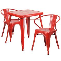 IndoorOutdoor Table Set Red -- Learn more by visiting the image link.