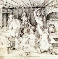'Woman's Bath' (c.1496) by German Northern Renaissance artist, printmaker & mathematician Albrecht Dürer (1471-1528). via WikiPaintings