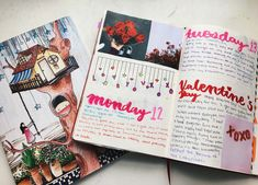 Red and pink bullet journal spread