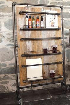 Reclaimed wood Storage Rack - Handmade Mobile storage solutions on caster wheels. Universal design for storing magazines or for cafe's and restaurants to use for storing sauces, menus etc. Ideal for quirky, vintage restaurants in London or Brighton