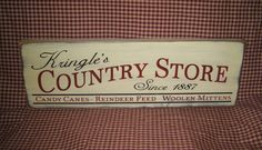 Wood sign Kringles Country Store Christmas by HeritagePrimitives New Crafts, Diy Home Crafts, Crafts To Do, Easter Crafts, Decor Crafts, Little Christmas, Christmas Signs, Christmas Crafts, Christmas Ideas