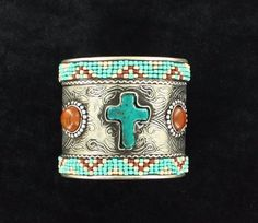 Cuff Style Bracelet Spice up your modern western style! This women's Blazin Roxx cuff bracelet is embellished with a colorful stone cross, beaded designs and round stones. Colorful Stone Cross. | eBay!
