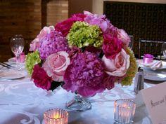 Purple Wedding Flower Table Centerpiece