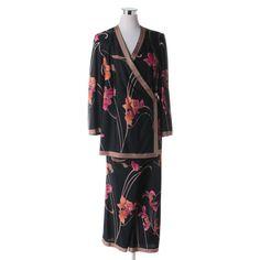 73f788cf53 Women s William Yu for Elégance Paris Floral Print Silk Jersey Pant Set