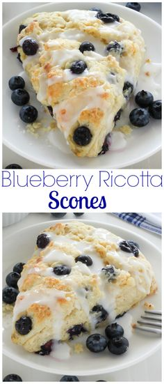 Classic and crumbly, these tender scones are made with sweet ricotta cheese and loaded with juicy blueberries!