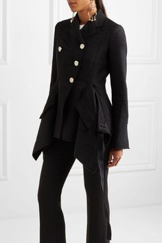 Proenza Schouler - Asymmetric Frayed Bouclé-tweed Jacket - Black