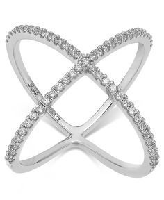 Studio Silver Cubic Zirconia X-Ring in Sterling Silver