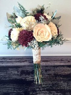 Burgundy Blush Wedding Bouquet made with sola flowers by SylCadle