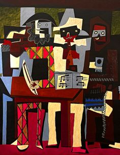Pablo Picasso, Three Musicians Color is too rich. Pablo Picasso, Kunst Picasso, Art Picasso, Picasso Paintings, Picasso Style, Art Pop, Cubist Movement, Georges Braque, Jazz Club