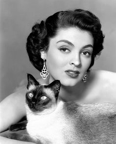 Jane Russell and a Siamese Cat