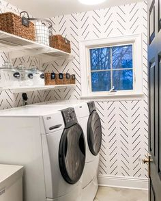 """Excellent """"laundry room storage diy budget"""" information is offered on our web pages. Read more and you will not be sorry you did. White Laundry Rooms, Farmhouse Laundry Room, Farmhouse Style, Laundry Room Organization, Laundry Room Design, Laundry Room Wallpaper, Lowes Wallpaper, Small Storage, Small Shelves"""