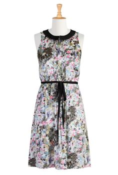 Sleeveless dress with watercolor flower print in mostly pink and gray, black tie belt, and pintucks at chest, and black collar | eShakti