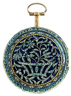 Pocket watch with works by Pierre Viala, Geneva. The exterior features gold, silver, diamonds, glass and enamels. c. 1770.