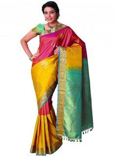 Pink and Yellow Pure Kanjeevaram Silk Saree