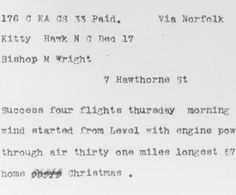 Telegram from Orville Wright in Kitty Hawk, North Carolina, to His Father Announcing Four Successful Flights, 1903 December 17