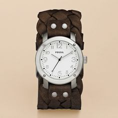 Fossil Woven Leather Watch - Dark Brown; CHECK! LOVE mine, thank you hubby <3