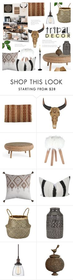 """Tribal Decor"" by alexandrazeres ❤ liked on Polyvore featuring interior, interiors, interior design, home, home decor, interior decorating, Jayson Home, Pottery Barn, Home Decorators Collection and Dot & Bo"