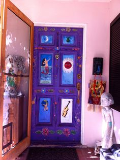Handpainted Mexican Loteria painted front door.I want to do this!