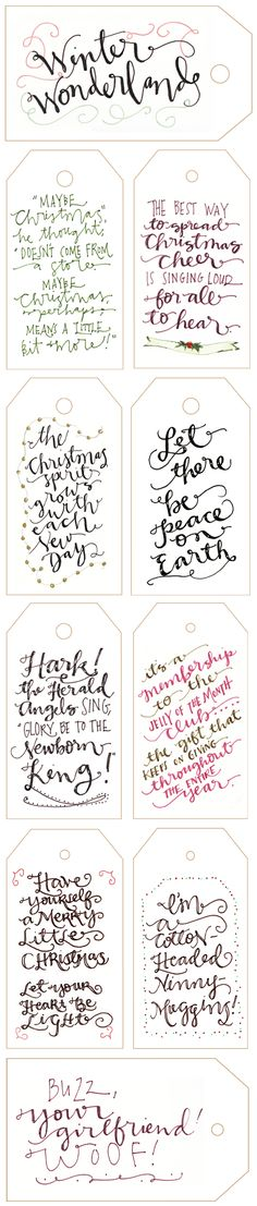 Free Printable Calligraphy Holiday Gift Tags haha my kids love the last one lol