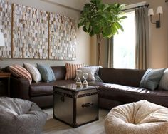 Modern Living Room Brown Leather Couch Design, Pictures, Remodel, Decor and Ideas- interesting wall art- I thought in the beginning that it was different wood blocks so it gives room texture Living Room Sofa, Living Room Furniture, Living Room Decor, Living Rooms, Furniture Decor, Couch Design, Wall Design, Brown Sofa, Brown Sectional