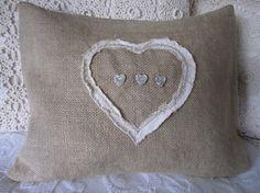 shabby heart burlap pillow