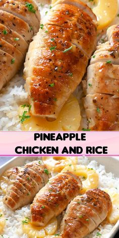 Pineapple Chicken and Rice Dinner Recipe. Tender chicken cooked in a sweet pineapple honey Dijon sauce and served over rice. Pineapple Chicken and Rice Dinner Recipe. Tender chicken cooked in a sweet pineapple honey Dijon sauce and served over rice. Healthy Chicken Recipes, Cooking Recipes, Meat Recipes, Recipies, Pineapple Chicken, Pineapple Rice, Pineapple Recipes, Rice Recipes For Dinner, Food Dishes