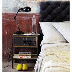 Table de chevet avec tiroir en métal noire L 45 cm