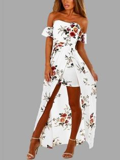 Slit dress: White Off Shoulder Random Floral Print Splited Dre. Maxi Gowns, White Maxi Dresses, Floral Maxi Dress, Cute Dresses, Prom Dresses, Dresses With Sleeves, Summer Dresses, Maxi Skirts, Lace Maxi