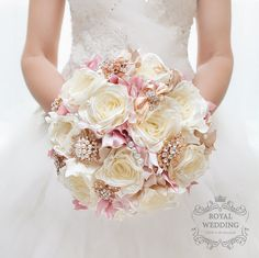 Bridal Bouquet Vintage Wedding Brooch Bouquet Wedding Bouquet Rose Bouquet Ivory Gold Bouquet Custom Bouquet Flower Bouquet Coral Bouquet