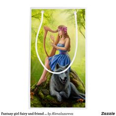 Fantasy girl fairy and friend wolf. Plays a harp. Small Gift Bag
