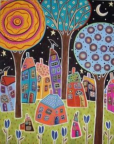 RUG HOOK CRAFT PAPER PATTERN Starry Sky FOLK ART PRIMITIVE Karla Gerard