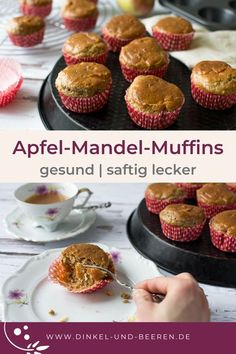 Apfel-Mandel-Muffins Gesund, ohne Industriezucker, super saftig und lecker. #dinkelundbeeren Diet Desserts, Healthy Sweets, Baby Food Recipes, Finger Foods, Low Carb, Bakery, Breakfast, Super, Healthy Snack Foods