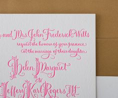Wedding planning ideas for this neon fairytale letterpress invitation might include a reception at a grand venue with majestic décor and lavish floral arrangements.
