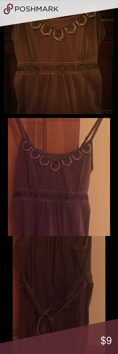 American eagle brown style tank Size small, great for a night out. Ties in the back. Beaded neckline. American Eagle Outfitters Tops Tank Tops
