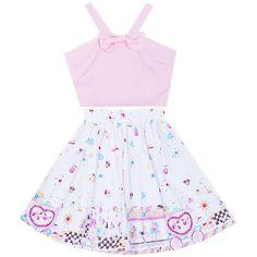 Wonderland Cutie 2 Piece Dress Bonne Chance Collections ($45) ❤ liked on Polyvore featuring dresses, bonne chance, full skirt, vintage style dresses, 2 piece dress, pattern dress and two piece dresses
