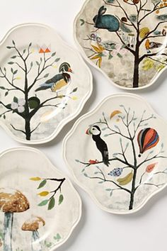 Curious Deciduous Salad Plate, Duck | Anthropologie