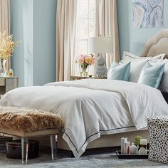 If you need us, we'll be catching up on our beauty sleep in this glam bedroom! Bring this dreamy look home by heading to the link in our profile. #bedroombliss #fauxfur #bedroominspo #sleepingin