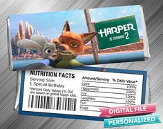 Zootopia Birthday Candy Bar Wrapper by kidspartydiy on Etsy