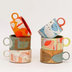 Colorful Shape Mugs by Sarah Steininger Leroux - - Whimsical cups to hold very serious drinks. Ceramic Clay, Ceramic Pottery, Ceramic Bowls, Slab Pottery, Ceramics Pottery Mugs, Pottery Vase, Painted Pottery, Porcelain Ceramic, Pottery Painting