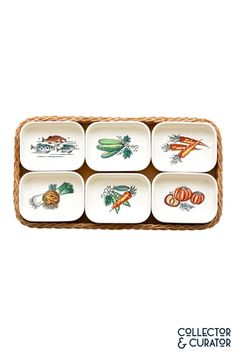 Collector & Curator ~ Products ~ Waechtersbach Painted Dishes in Wicker Serving Tray ~ Shopify Mid Century Modern Design, Butter Dish, The Collector, Wicker, Mid-century Modern, Tray, Dishes, Products, Tablewares