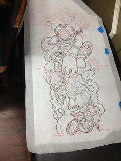 Nautical Sleeve, mermaid instead of diver Diver Tattoo, Sea Tattoo, Tattoo Ink, Samoan Tattoo, Polynesian Tattoos, Tattoo Design Drawings, Tattoo Sketches, Tattoo Designs, Body Art Tattoos