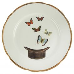vintage ceramics | Upcycled Butterfly and Hat Dinner Plate | Melody Rose Ceramics