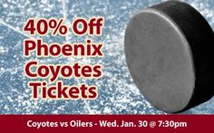 $29 (40% off) Phoenix Coyotes Tickets vs Edmonton Oilers Wed. Jan. 30 @ 7:30pm - Crowd Seats Cheap Sports Tickets