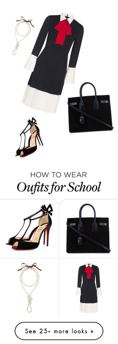 """""""Private School"""" by zandrasmyth on Polyvore featuring Gucci, Christian Louboutin and Yves Saint Laurent"""