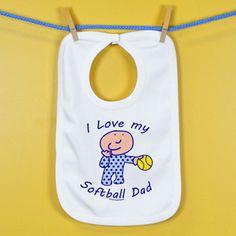 Softball Baby Bib I Love My Softball Dad - white