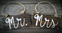 Mr. and Mrs. Wedding Decor Signs - Reclaimed Wood, Rustic Wedding Decor, Wedding Table Signs by HansenCrafted on Etsy