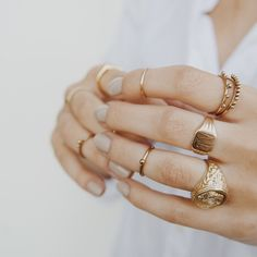 The Mahe Ring Set- Antique Gold | Luv Aj