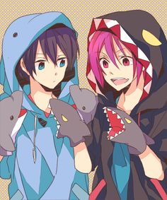 LOOK AT THESE PRECIOUS BABIES omg look at haru with his little dolphin puppet hands what a cutie and then rin with his cutie little hoodie omg this is so cute ^_^ precious babies