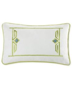 "Echo Sardinia 12"" x 18"" Oblong Embroidered Decorative Pillow - White"