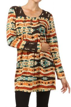 65 percent Polyester 35 percent Acrylic 1S/1M/1L/1XL Per Pack Orange, Red This HIGH QUALITY tunic dress is VERY NICE!! Cute print, this embellished multicolored tunic with long sleeves is made from a light and comfy fabric that is hand washable, and fits true to size.